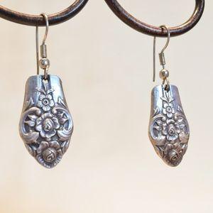 Vintage silver spoon earrings